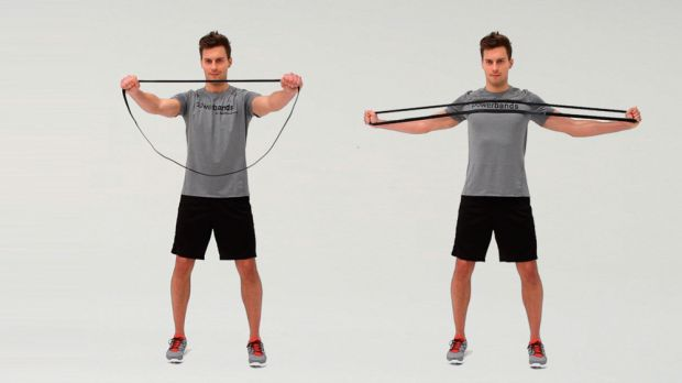 Using resistance bands to stretch your arms